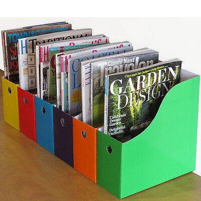 Evelots® 12 Magazine/File Holders W/ Adhesive Labels, 6 Different Colors