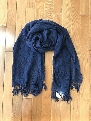John Varvatos USA Mens Cashmere Scarf Black Navy Blue 21x76 Paisley Fringe New