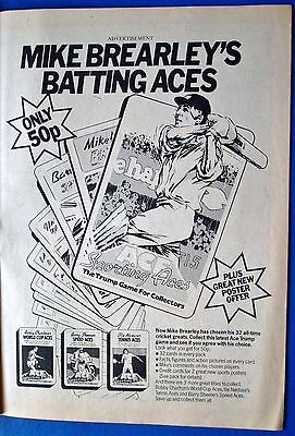 Sporting Aces Trump Game 1978 Advert Mike Brearley's Batting Aces From Magazine