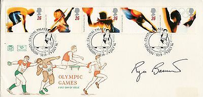 1996 Olympic Games FDC Signed by Roger Bannister Special PM 4 Minute Mile