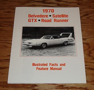 1970 plymouth belvedere satellite gtx road runner facts feature manual 70