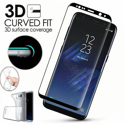Full Curved Tempered Glass Protector Film+TPU Case Cover For Samsung S8 Plus S7