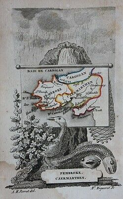 Scarce original antique map WALES, PEMBROKE, CAERMARTHEN, Perrot, c.1823