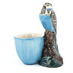 Quail Ceramics - Budgerigar Figure Egg Cup - Blue