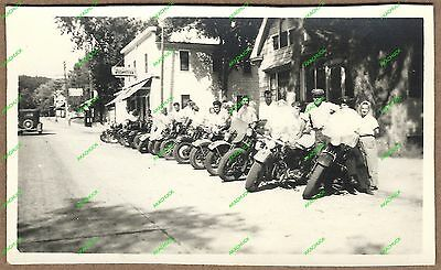 Rare Photo 1940s HARLEY DAVIDSON CLUB Motorcycle Gang OSHKOSH WI Original Print