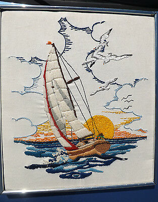 """Vintage Finished Framed Crewel Embroidery Picture Sailboat Seascape 14"""" x 16"""""""