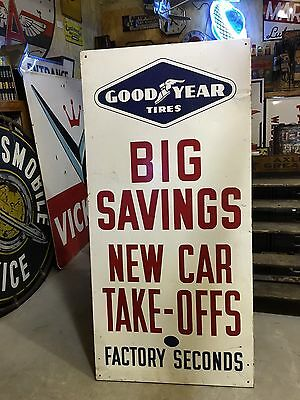 LQQK! VinTaGe ORIGINAL 1964 GOOD YEAR Tire VerTical Sign SST Gas OiL LARGE OLD
