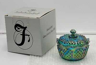 New 1990 Fenton Green Iridescent Carnival Glass Hobnail Covered Candy/butter Tub