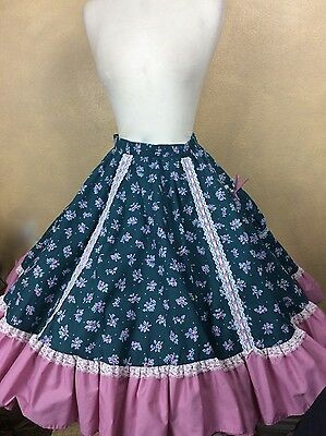 Square Dance Skirt Teal Floral Rose and White Lace Size XL Partners Please Malco