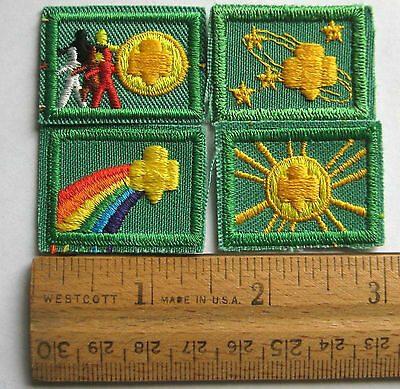 Vintage Girl Scout 1986-1994 Set 4 SIGN of WORLD SUN STAR RAINBOW Junior Badges