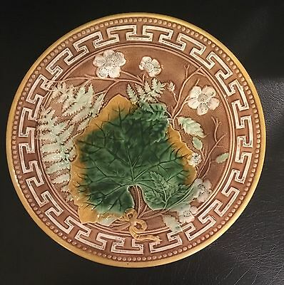 Antique 19th C. Majolica Brown & Green Leaf Plate