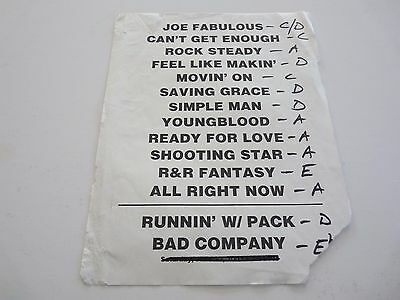Bad Company Vintage Real Stage Tour Used Set List Concert Music