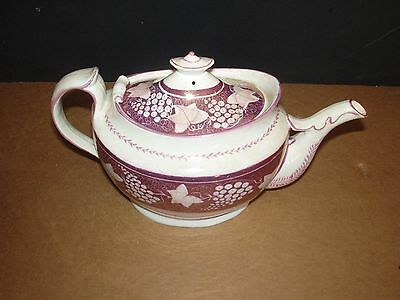 Antique Middle of the 1800s Pink Lustreware Lusterware Large Teapot Tea Pot