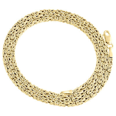 Genuine 10K Yellow Gold Box Byzantine Link Chain 2mm Necklace 18-24 Inches