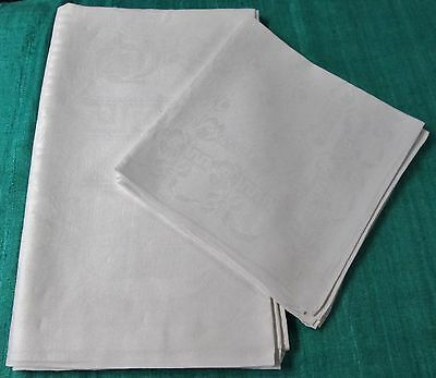 Antique Linen Damask Tablecloth & 4 Napkin Set Tulips Ribbons Bows Hand Hemmed