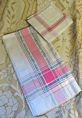 Antique Linen Damask Tablecloth & 6 Napkins Never Used Czechoslovakia Tri-color