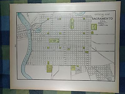 "SACRAMENTO CALIFORNIA Map 1900 Antique Original Vintage Old 14.5""x11.5"" MAPZ5"