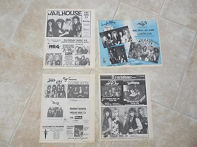Lot of 4 10x13 LA Hair Metal Band Concert Ads FIRE TEENAGE HEAD JAILHOUSE & More