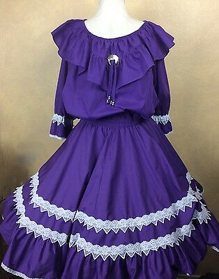 Square Dance Outfit Top L Skirt M Purple White Lace 3/4 Sleeve Partners Please