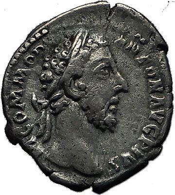 COMMODUS 177AD Silver Authentic Genuine Ancient Roman Coin VIRTUS Rare i60613