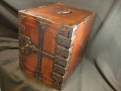 JAPANESE EDO ERA ANTIQUE 220 YR OLD SHIPS TANSU CHEST FUNADANSU   jk