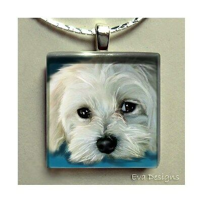 Maltese Dog Charm Dangle Beads Necklace Jewelry Pet Gift Art Glass Tile Pendant
