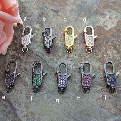MB003 1pc 9x30mm Paved CZ Lobster Clasp DIY Jewelry Findings