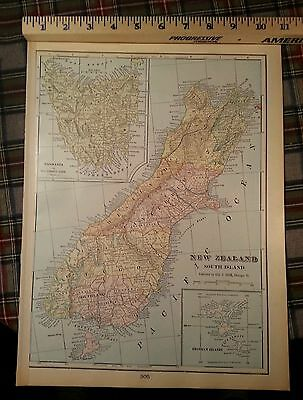 "NEW ZEALAND Map 1902 Antique Vintage Original Auckland FINE 11""x14.5"" MAPZ171"