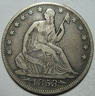 = 1853 F/VF SEATED Liberty Half, Super EYE Appeal, Arrows & RAYS, FREE Shipping