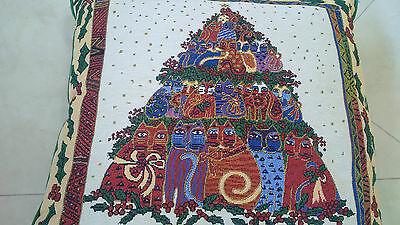 "Laurel Burch Pillow Christmas Cat Tree Tapestry Large 16"" x 16"""