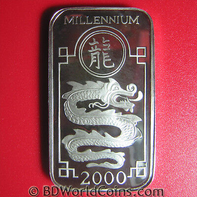 1998-2000 Korea 250 Won Silver Proof Millennium Dragon Rectangular Coin Rare!