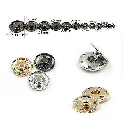 8/15/17/21/25/30mm Metal Snap Fasteners Sew On Press Studs Poppers Buttons