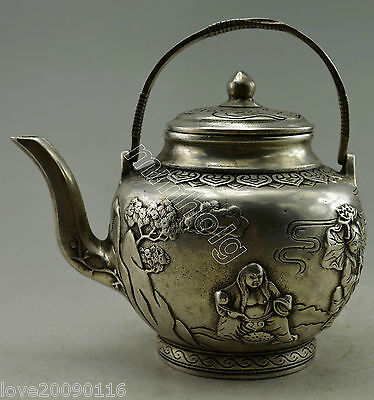 Collectible Decorated Old Handwork Silver Plate Copper Child Tree Lotus Tea Pot