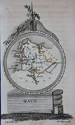 Scarce original antique map IRELAND, COUNTY MAYO, Perrot, 1823