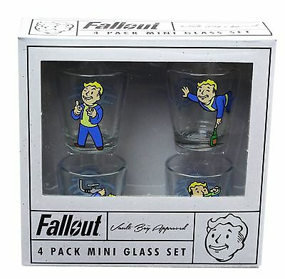 Bethesda Fallout Shot Mini Glass 4-Pack Set Vault Boy Approved