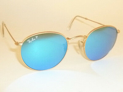 6c19639ac5b New RAY BAN ROUND METAL Matte Gold RB 3447 112 4L Polarized Blue Mirror 53mm