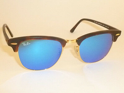 New RAY BAN  Clubmaster  Matte Tortoise RB 3016 1145/17  Blue Mirror Lenses 49mm