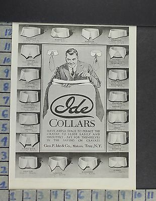 1919 Fashion Men Ide Collars Designs Style Suit Tie Troy Vintage Ad Cp37