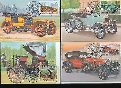 S.Tome Principe 1983 Cards Maxi Cars Automobiles 1st Day Used x 9 (D357)