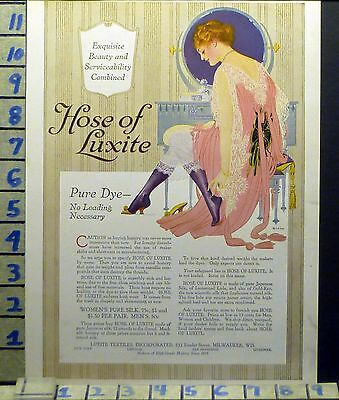 1916 Fashion Women Hosiery Hose Of Luxite Beauty Textiles Vintage Ad Bj20