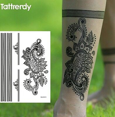Black Henna Lace Flowers Temporary Tattoo Bracelet Tattoo Stickers Waterproof UK