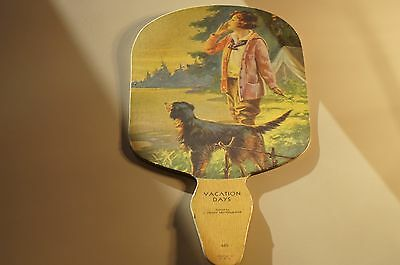 Antique 1930's Dog & camping scene Paper Hand Fan~Very Cool!