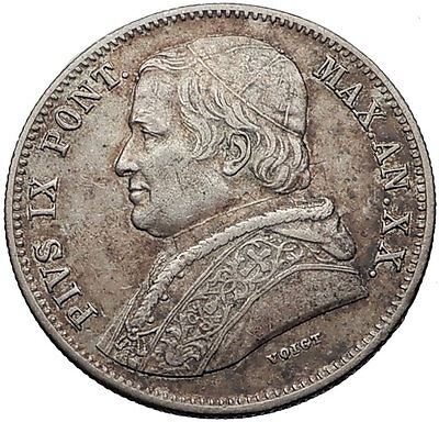 1866 Vatican Papal Rome POPE PIUS IX Antique Authentic Silver Coin i60057