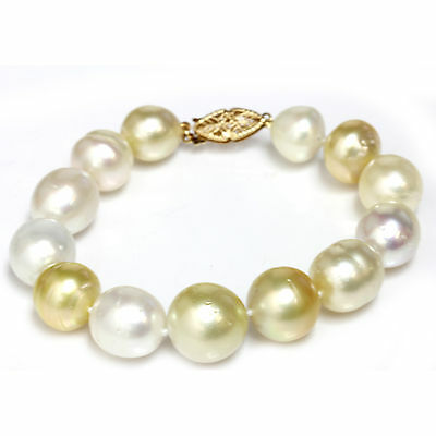 "South Sea Pearl Pearl  Bracelet  Multicolor 14 - 11 mm 7""1/2 14k yellow gold"