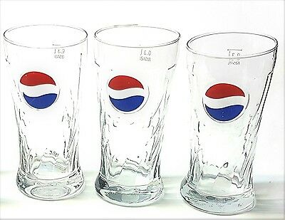 Lot of 3-Rastal 0.3 L Pepsi Red-and-Blue-Swirl Logo Tumble Embossed Glasses