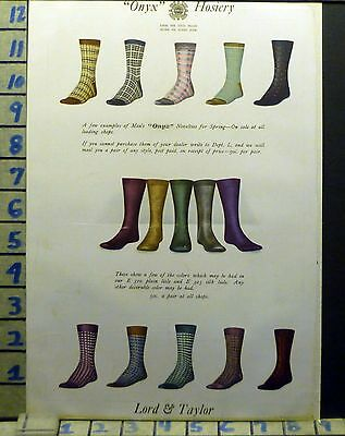 1910's Lord Taylor Sock Hosiery Onyx Men Fashion Designer Vintage Art Ad [Bj97]