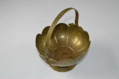 Vintage VTG Solid Brass Scalloped Footed Bowl with Grape Design Rope Handles