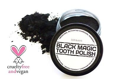 BLACK MAGIC CHARCOAL POWDER TOOTHPASTE POLISH *POWERFUL TOOTH CLEANER *25ml  POT