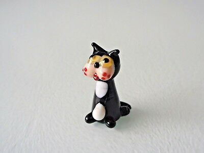 Cat - Glass Ornament  - Nicely Detailed - Black & White Glass - New & Boxed