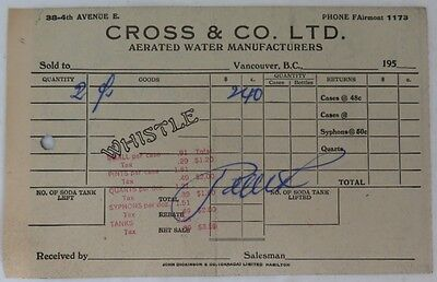 1950's CROSS & CO. AERATED WATER RECEIPT           (INV13252)